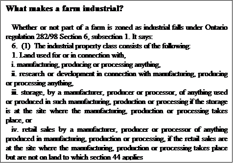 Text Box: What makes a farm industrial? Whether or not part of a farm is zoned as industrial falls under Ontario regulation 282/98 Section 6, subsection 1. It says:  6.(1)The industrial property class consists of the following: 1. Land used for or in connection with, i. manufacturing, producing or processing anything, ii. research or development in connection with manufacturing, producing or processing anything, iii. storage, by a manufacturer, producer or processor, of anything used or produced in such manufacturing, production or processing if the storage is at the site where the manufacturing, production or processing takes place, or iv. retail sales by a manufacturer, producer or processor of anything produced in manufacturing, production or processing, if the retail sales are at the site where the manufacturing, production or processing takes place but are not on land to which section 44 applies