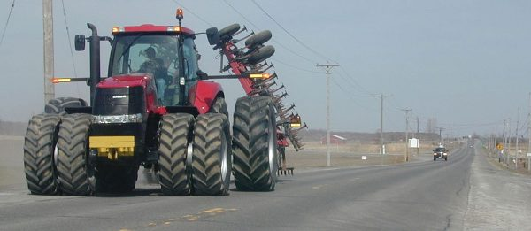 Western Ontario tractor on the road