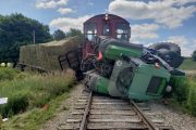 Train slams into tractor in Oxford County; one person sent to hospital